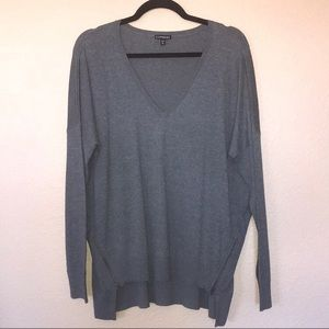 NWOT Exp Grey High Low V-neck Sweater